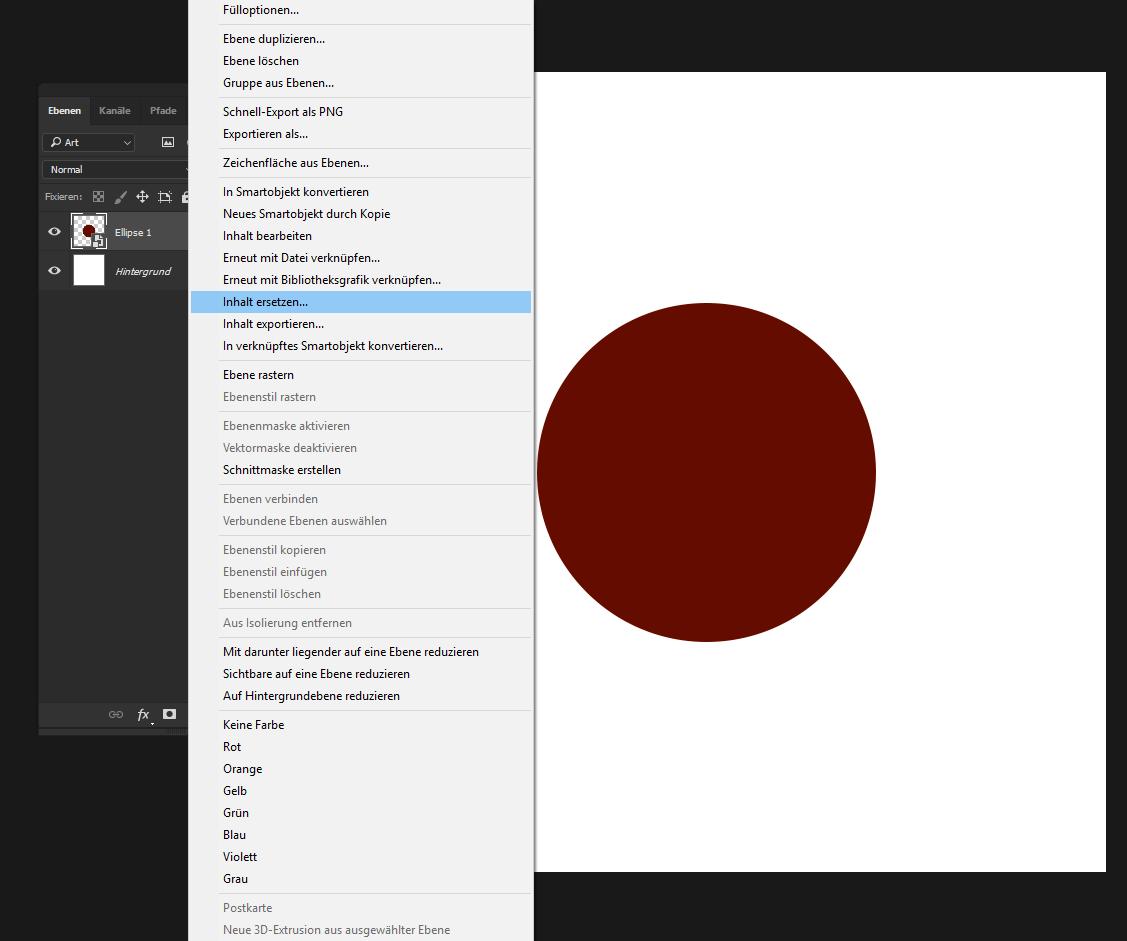 """Falls wir ein Smartobjekt nur als Platzhalter erstellt haben können wir dieses nun durch eine andere Datei ersetzen. Dazu klicken wir mit der rechten Maustaste auf das Smartobjekt und wählen """"Inhalt ersetzen"""" aus. Hier können wir nun eine beliebige Datei auswählen, entweder ein Bild, Vektor oder eine Photoshopdatei. Da der Inhalt sich nun ersetzt überschreibt das neue Smartobjekt sämtlich vorherigen Bildinformationen mit den neuen. (Form, Größe, Auflösung)"""